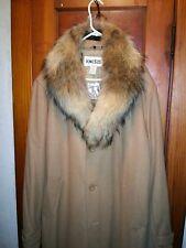 Men's Long Wool Blend Coat Real Fur Collar