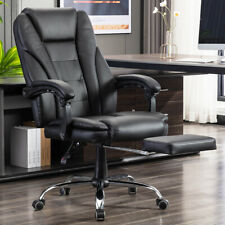 Ergonomic Leather Office Chair High Back Overstuffed Padded Seat Rolling Chair