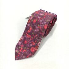 "Express Liberty Fabric Mens Skinny Red Pink Floral 100% Cotton Neck Tie 2"" NWT"