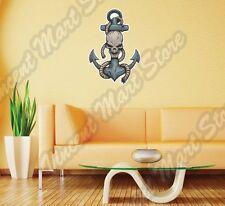 "Pirate Anchor Skeleton Skull Nautical Wall Sticker Room Interior Decor 16""X25"