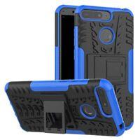 para Huawei Y7 2018 Carcasa híbrida 2 piezas Exterior Azul Estuche Funda NUEVA