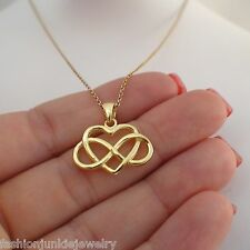 Infinity Heart Necklace - 925 Sterling Silver Gold Infinity Heart Charm Jewelry