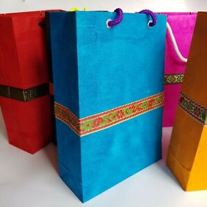 Eco Gift Bags made from Lokta Paper, Medium.  *Handmade* Red, Orange, Pink, Blue