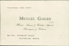 Hounslow. 'Michael Gaiger' Surveyor, Valuer. 56-56A Kingsley Road.   JD.341