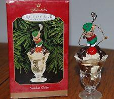 Sundae Golfer Hallmark Keepsake Ornament 1999 Mouse Chocolate Christmas w/ Box
