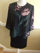 TED BAKER BLACK/GREEN FLORAL LAYERED DRESS UK SIZE 8 BNWT RRP £149