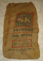 Vintage SK Spencer Kellogg Soybean Oil Meal Burlap Feed Sack Decatur Illinois AA