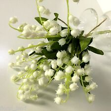 1x Artificial Flower Silk Plastic Weddings Cream White Lily of The Valley Bunch