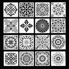 16pcs Reusable Stencil Cut Mandala Painting Template Floor Wall Tile Stencils