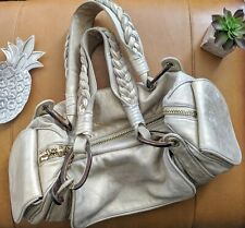 Juicy Couture women's gold tan leather satchel tote bag shoulder gym duffle $425