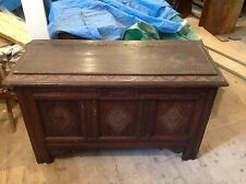 Exceptional Ornate 18th Century Carved Oak Mule Chest Coffer  ChestRare x