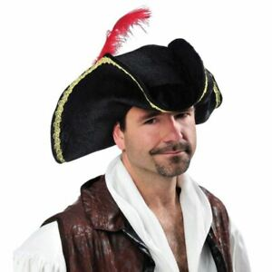 Tricorn Hat Victorian Stage Party Buccaneer Caribbean Pirate Adult Fancy Turpin