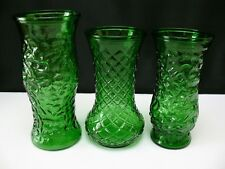 Green Hoosier Glass Vase LOT OF 3 Diamond and Crinkle Patterns