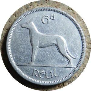 elf Ireland Irish Free State 6 Pence 1928 Irish Wolfhound Dog