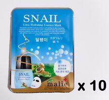 10pcs Korea Beauty Cosmetic [Malie]SNAIL Essence Face Mask Pack Sheet 0.88oz 25g