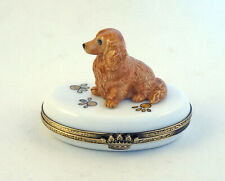 New French Limoges Trinket Box Cute Dachshund Dog Puppy on Dog Paw Prints