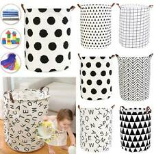 Foldable Washing Clothes Laundry Basket Canvas Baby Toy Hamper Bin Home Storage