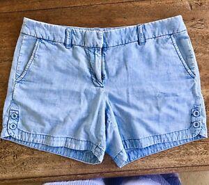 J Crew Blue Chambray Denim Shorts UK 10-12 US 8
