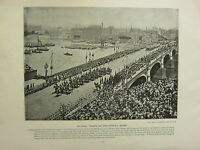 1896 Viktorianisch London Aufdruck + Text ~ Colonial Troops Auf Westminster
