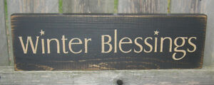 PRIMITIVE  COUNTRY WINTER BLESSINGS  SIGN