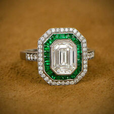 2.25CT WHITE EMERALD CUT ART DECO ENGAGEMENT WEDDING 925 STERLING SILVER RING