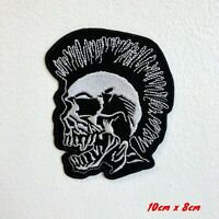 Punk Head Skull with Spike Hair Iron Sew on Embroidered Patch #1802