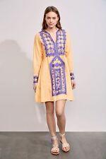 New ANTIK BATIK Designer Hera Cotton Peach Orange Purple Embroidered Dress UK 8