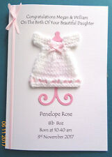 Personalised Baby Girl Daughter Birth Congratulations Card Knitted Dress + Stand