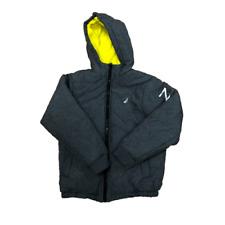 Nautica Kids Grey and White Zip-Up Bubble Jacket w/ Hood Sz Medium 10/12