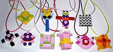 8 GIRL PARTY FAVOR LEGO BRICK MAKE YOUR OWN NECKLACES BIRTHDAY GRAB BAGS GIFTS