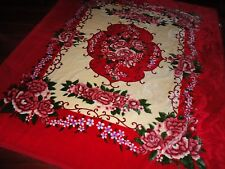 VIP SUPER PLUSH KOREAN QUEEN/KING BLANKET RED GREEN FLORAL 91 X 81 THICK & HEAVY