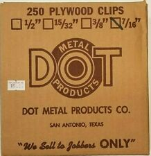 """Plywood Clips 250 Count 7/16"""" Dot Metal Products"""