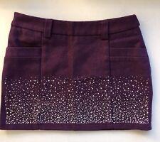 Women Autumn Winter Fashion Mini Short Skirt Purple with Bling Gemstone Size 8