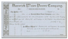 Norwich Water Power Company Stock Certificate (Connecticut, 1800's)