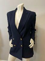 Lauren Ralph Lauren Womens Double Breasted Wool Blazer Navy Gold Buttons Size 8