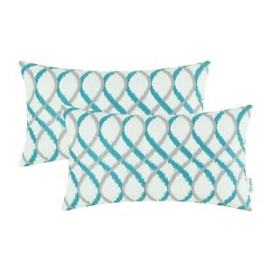 "2Pcs Bolister Throw Pillow Cover Shell Soft Fleece Waves Strips Geometric 12x20"""