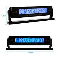 Auto Car Temperature Voltage Clock Digital LCD Thermometer Meter Monitor Alarm