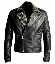 VERSACE For H&M Motorcycle Rare Black Leather Biker Studded Studs Jacket M