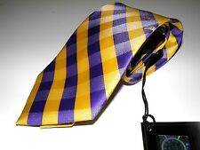OFFICIALLY LICENSED LSU TIGERS NECKTIE WOVEN CHECKERED POLYESTER NEW