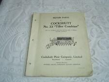 Cockshutt 33 tiller combine parts list catalog book manual