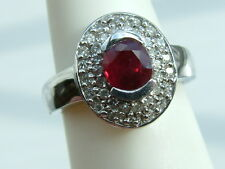 Lovely natural Ruby & Diamond heavy Ring 1.52 ctw 14k solid white GOLD $2950