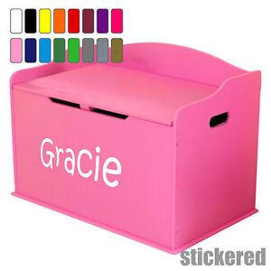 GIRLS PERSONALISED NAME TOY BOX VINYL STICKER DECAL FOR CHILDENS FURNITURE CHEST