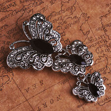 VINTAGE INSPIRED RHODIUM SILVER PLATED STATEMENT BLACK BUTTERFLY DANGLE BROOCH