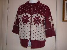 Women's SweaterJacket Sz M Dark Ruby Woolrich 3/4 Sleeve, Zipper, Merino Wool