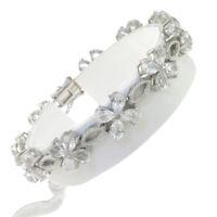 7.5 in - 925 Sterling Silver Pear Clear Cubic Zirconia Flower Link Bracelet