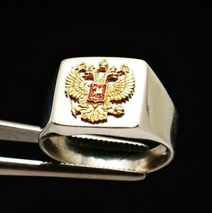 RUSSIAN MEN 14k ROSE GOLD FILLED 925 SILVER DOUBLE HEADED EAGLE SIGNET RING 12 Y