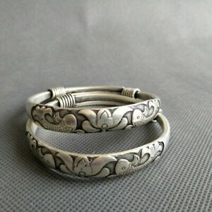 A Pair Old Chinese tibet silver handcarved fish Bracelet