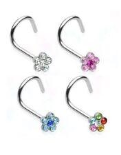 STEEL NOSE SCREW RING MULTI GEM FLOWER 20G AQUA CLEAR PINK OR RAINBOW COLOR N115
