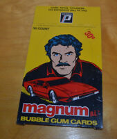 VINTAGE MAGNUM P.I. DONRUSS BUBBLE GUM TRADING CARDS BOX 1983 1980'S RETRO TV