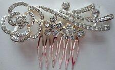 HAPACHICO LUPITA Vintage Hair Clip Comb Flower Rose White Rhinestones Silver